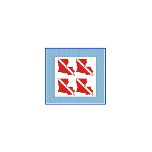 Trident Small State Dive Flag Stickers Louisiana