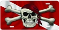 Innovative Dive Flag with Skull & Bandana Metal License Plate