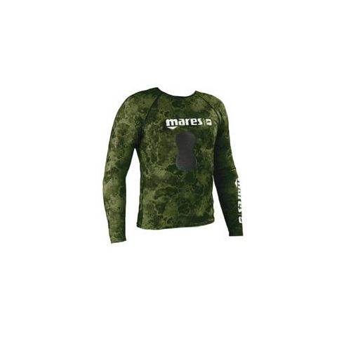 Mares Pure Instinct Mens Rash Guard Top w/Chest Pad in Green Camo