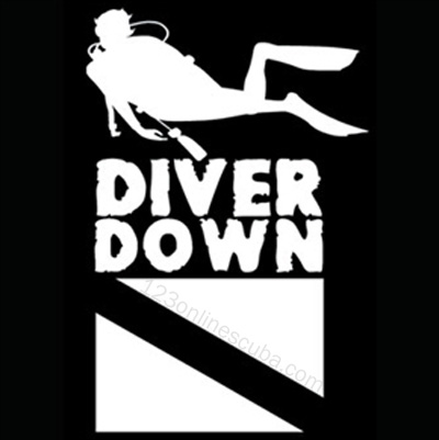 8in Diver Down Dive Flag Die-Cut Window Decal