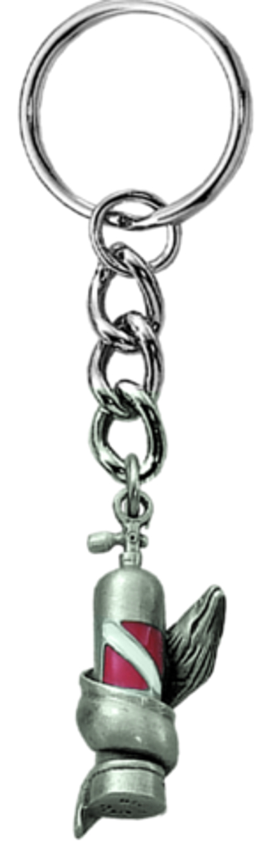 Scuba Diving Tank Pewter Key Ring