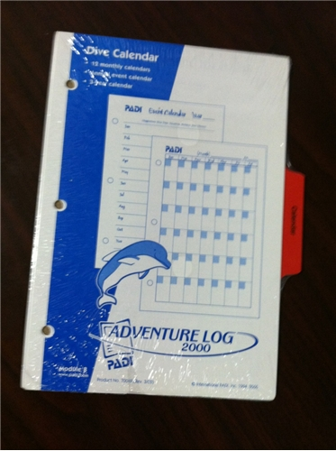 PADI Dive Calendar Log Pages - CLOSEOUT