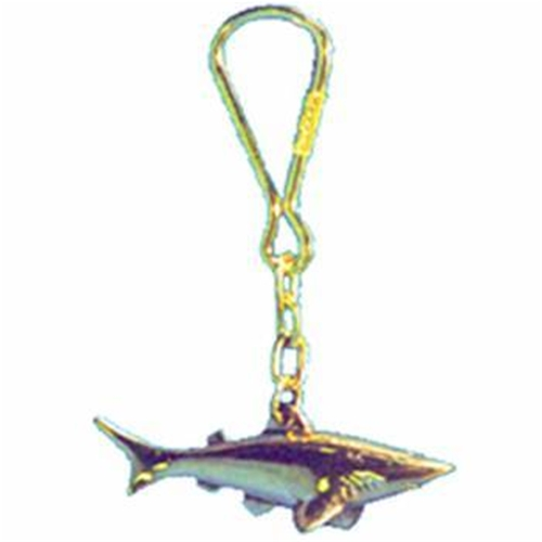 Trident Brass Shark Key Ring