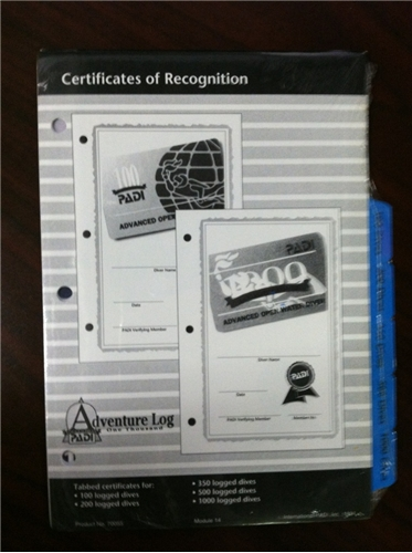 PADI Certificates of Recogniation Log Pages - CLOSEOUT