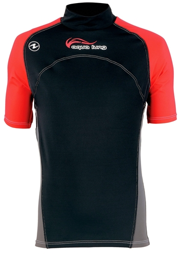 Aqua Lung Men's Red Night Short Sleeve Rashguard