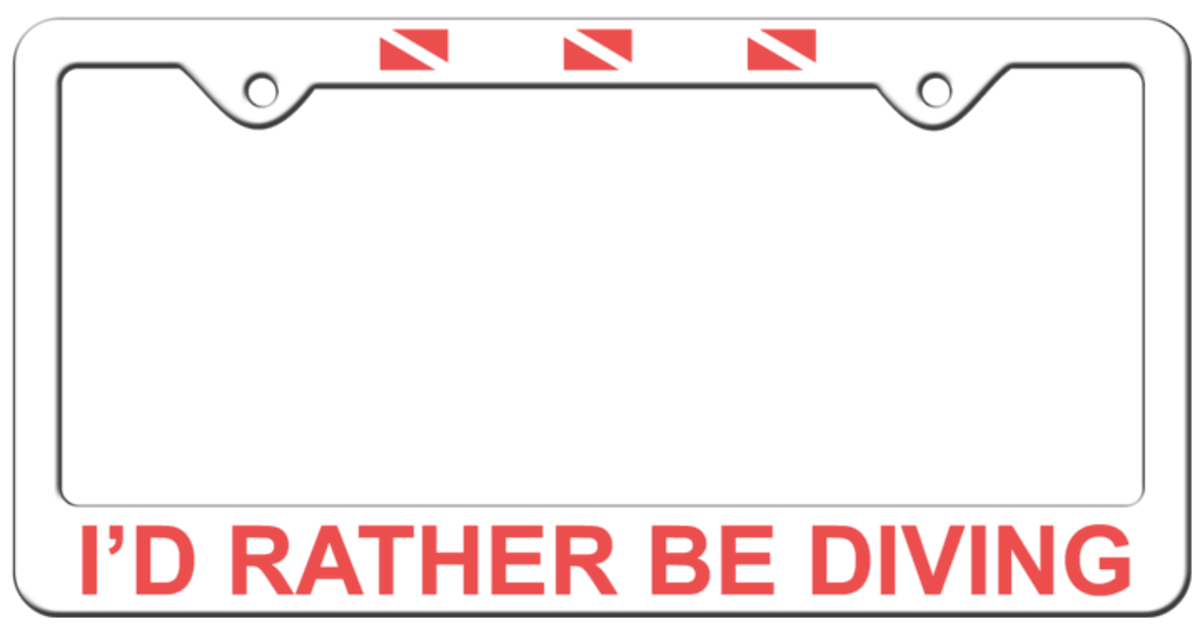 'I'd Rather Be Diving' Plastic License Plate Frame
