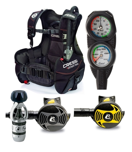 Cressi Start Pro Weight Integrated BCD Reg Gauge Dive Package