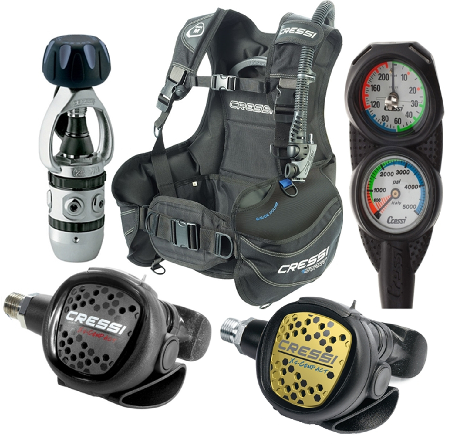 Cressi Start BCD Regulator Octo and Gauge Package