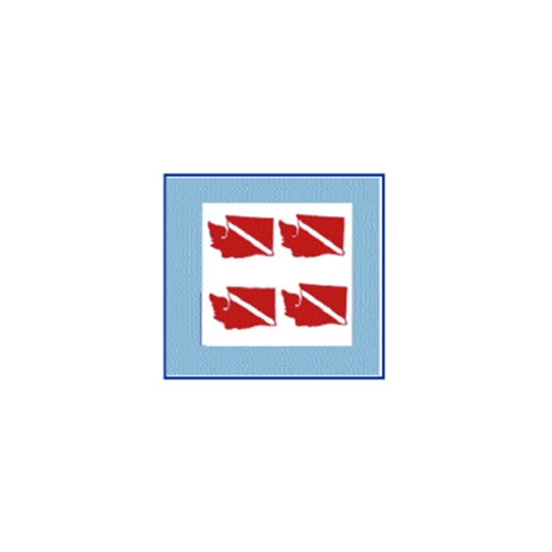 Trident Small State Dive Flag Stickers Washington