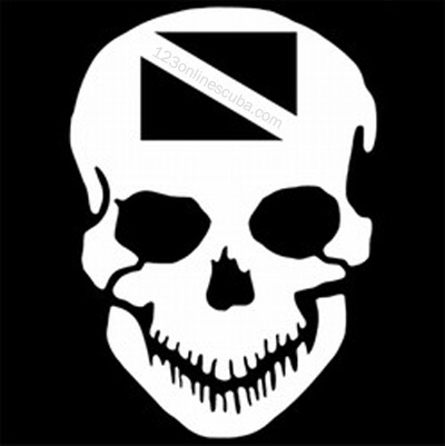 Innovative 8in Skull With Dive Flag Die-Cut Window Decal