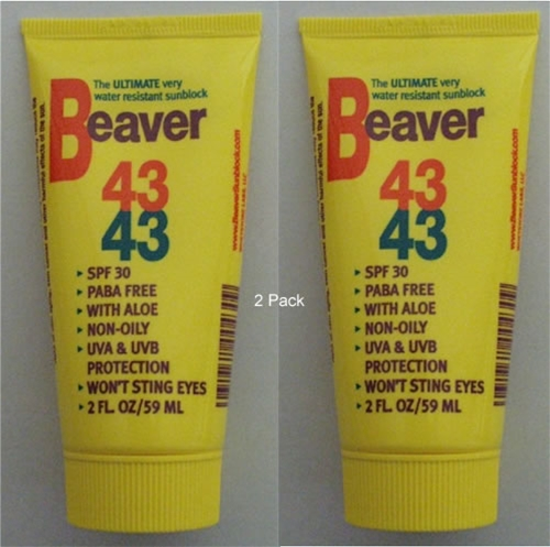 2 Pack Beaver 43 Sport Very Water Resistant Sunblock