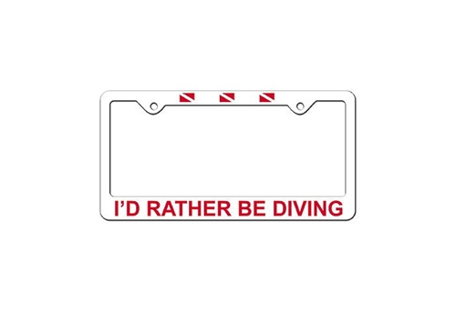 Trident I'd Rather Be Diving License Plate Frame