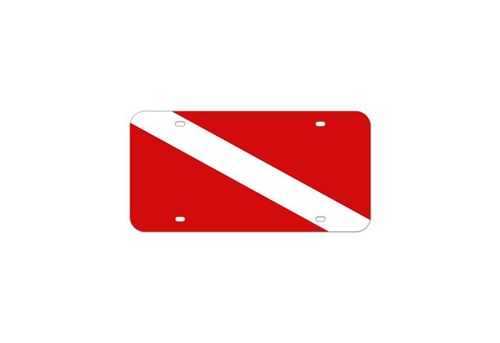 Trident Scuba Dive Flag Metal License Plate