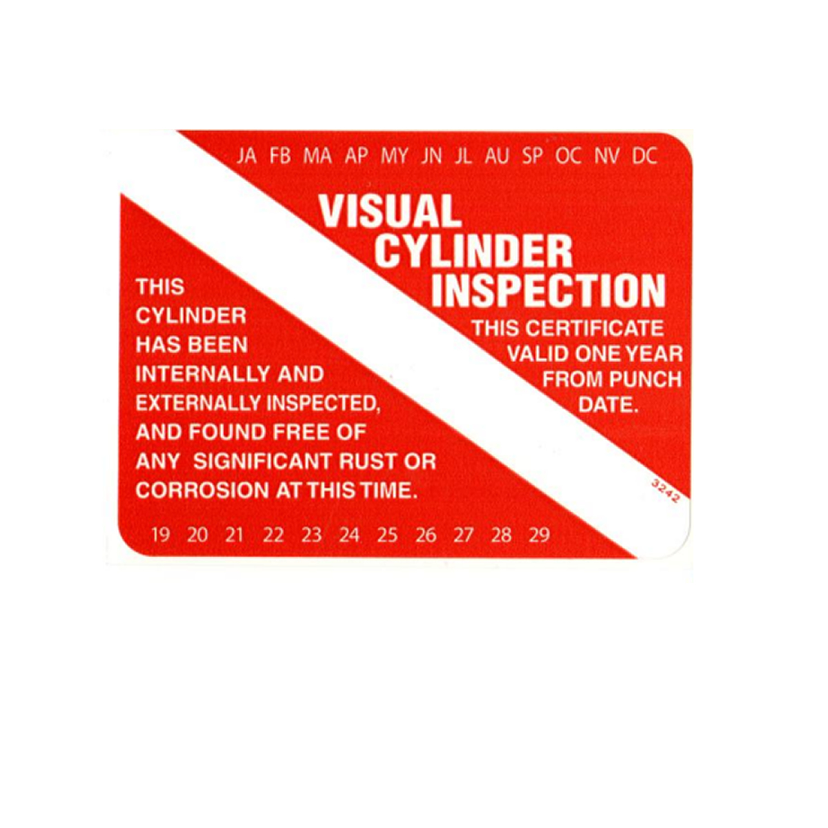Scuba Tank Visual Inspection Sticker VIP
